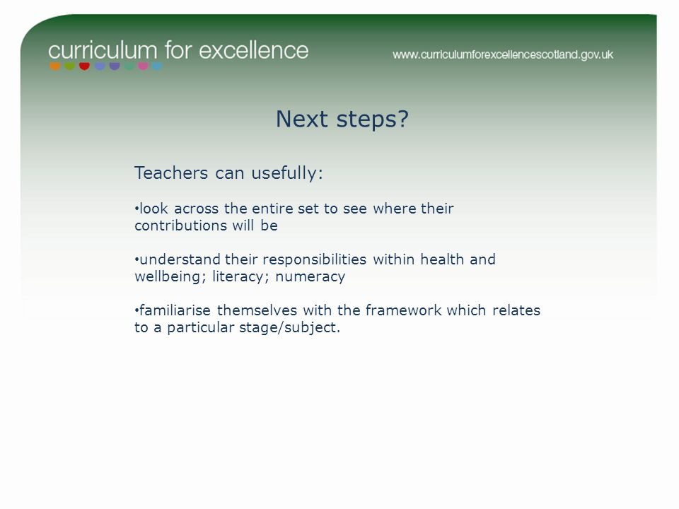 Next steps Teachers can usefully:
