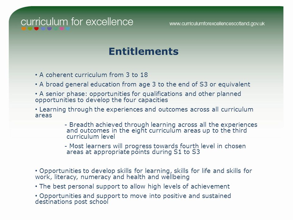 Entitlements A coherent curriculum from 3 to 18