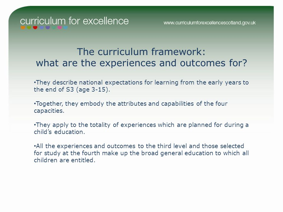 The curriculum framework: what are the experiences and outcomes for