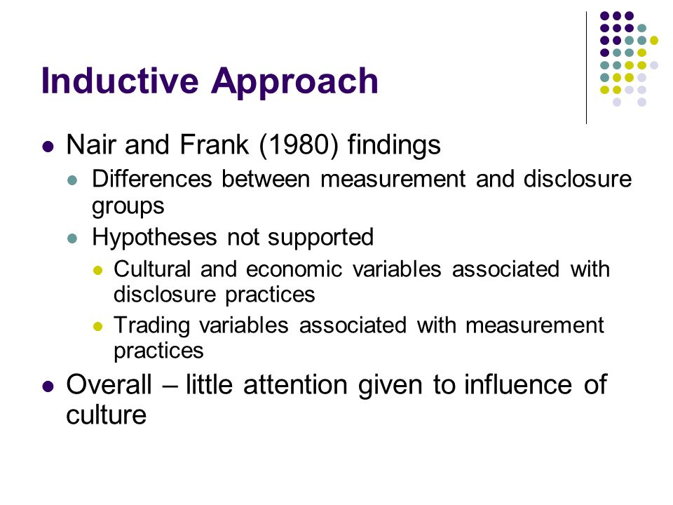 Inductive Approach Nair and Frank (1980) findings