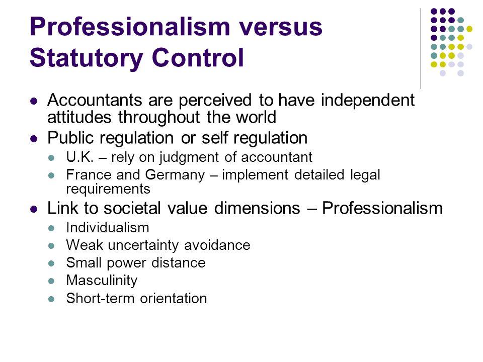 Professionalism versus Statutory Control