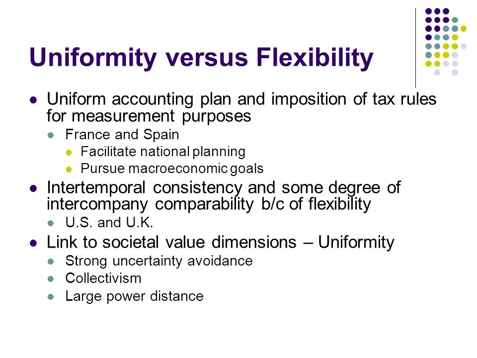 Uniformity versus Flexibility
