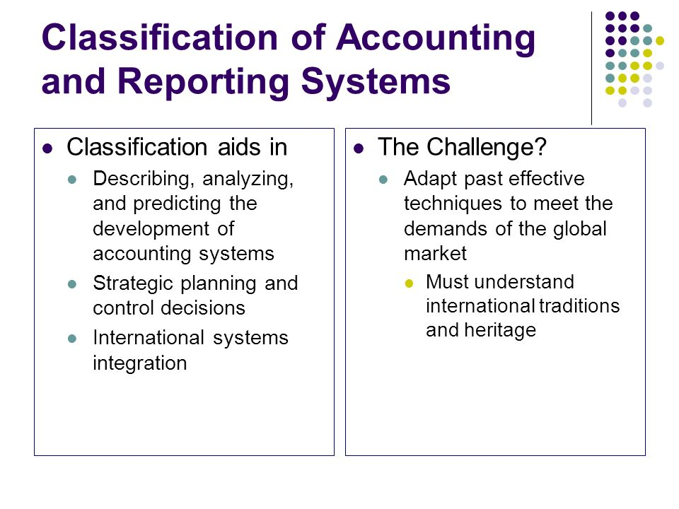Classification of Accounting and Reporting Systems