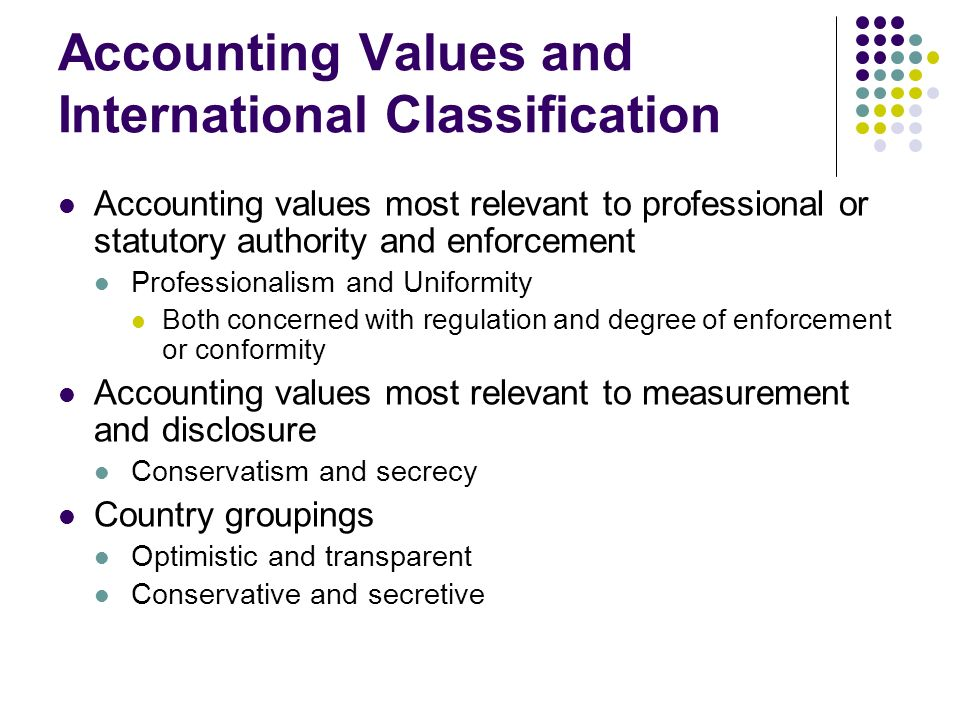 Accounting Values and International Classification
