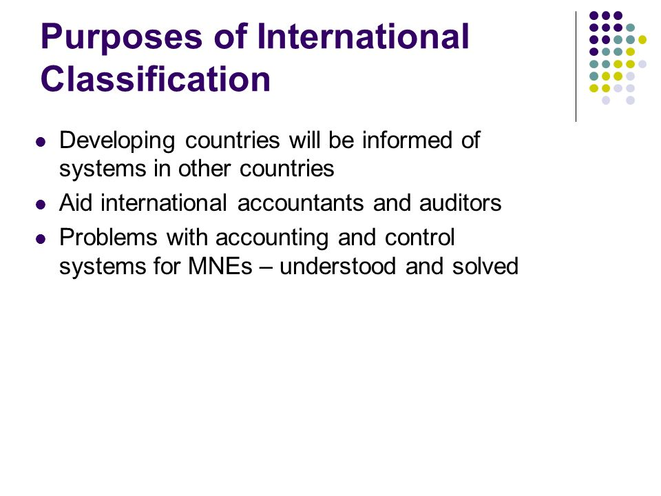 Purposes of International Classification