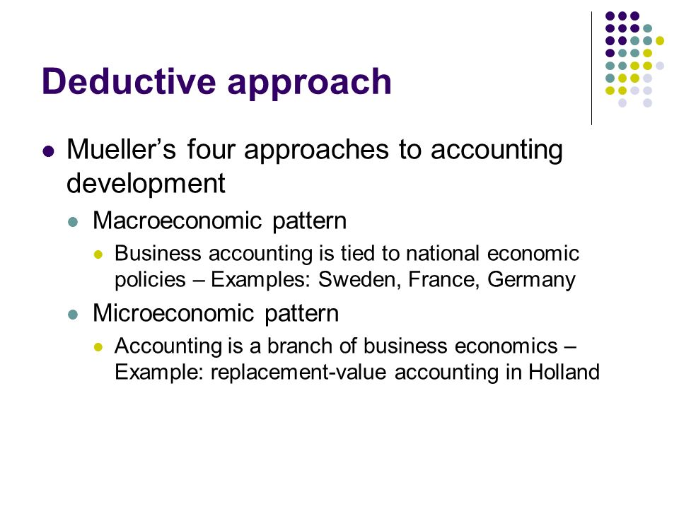 Deductive approach Mueller's four approaches to accounting development