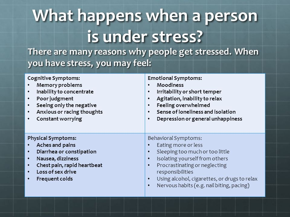 What happens when a person is under stress