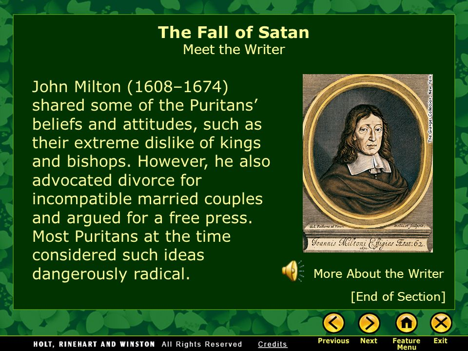 an overview of the satan in the poem paradise lost by john milton Need help with book 7 in john milton's paradise lost check out our revolutionary side-by-side summary and analysis paradise lost book 7 summary & analysis from litcharts   the creators of sparknotes.