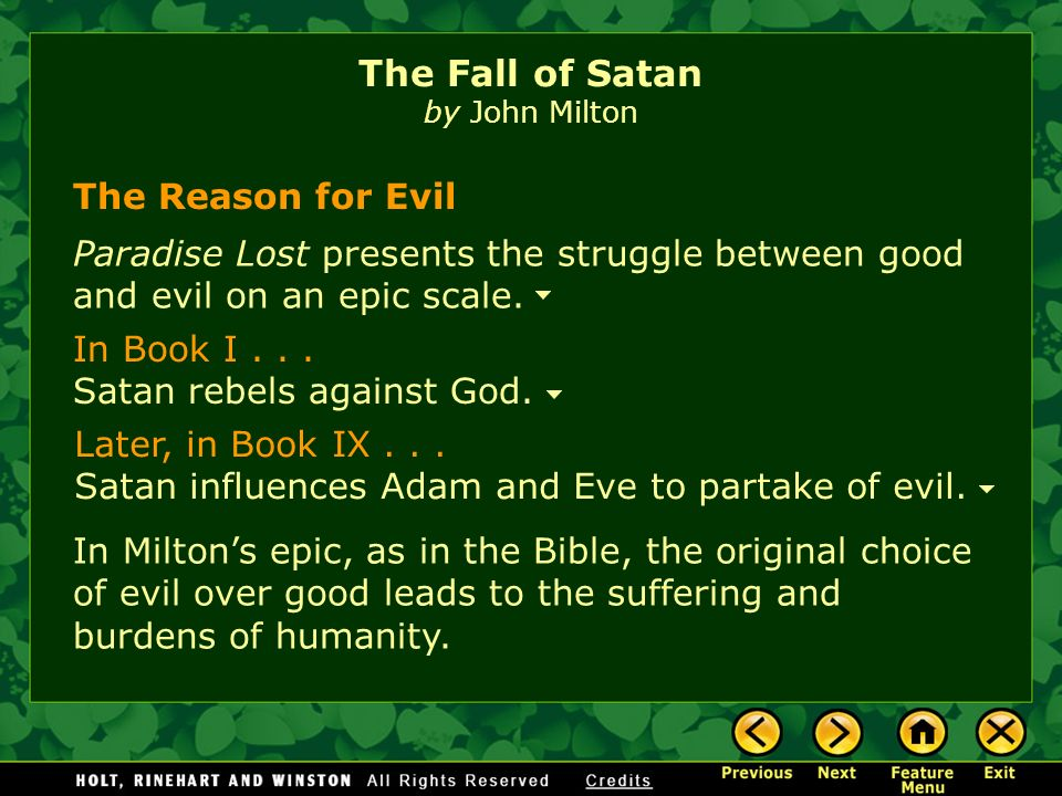 the good versus the evil in john miltons paradise lost Continuation of adam's visions, book 12 of paradise lost by milton throws light on the  the tower of babel, the poem brings forth the issue of good versus evil.