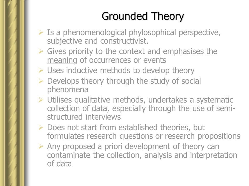 discriminate between phenomenology and grounded theory Research questions and hypotheses i nvestigators place signposts to carry the reader through a plan for a  1993, p 151) in grounded theory, the questions may be directed toward generating a theory of some process, such as the exploration  phenomenology) • report the stories (eg, narrative research).