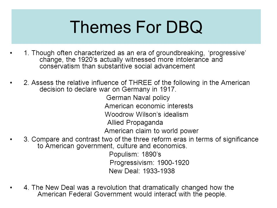 Progressive Era Essays (Examples)