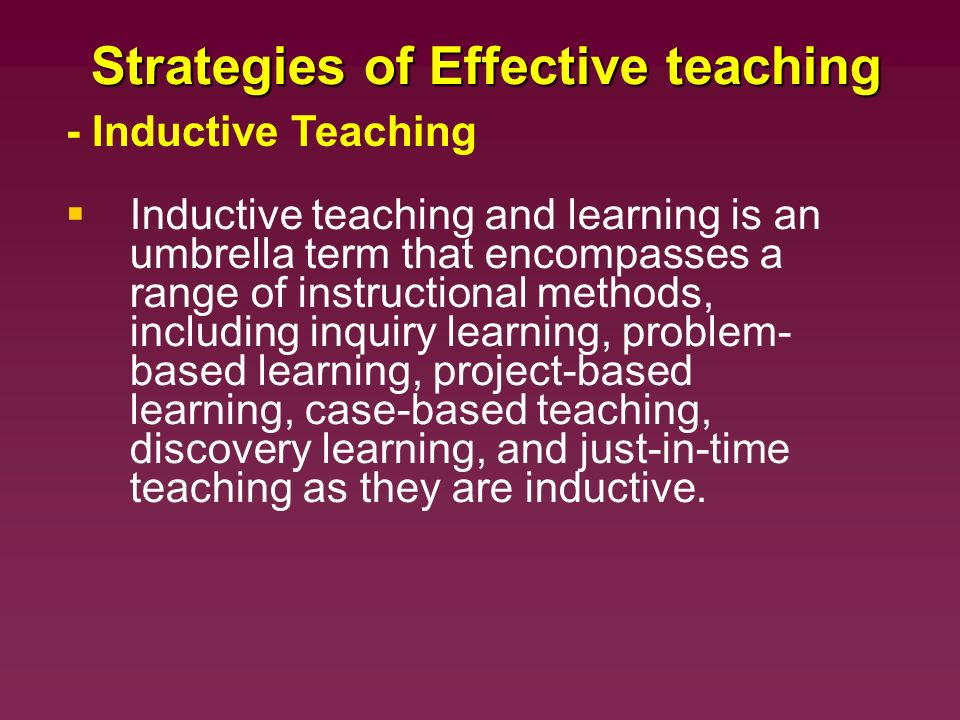 strategies for discovery learning Various learning theories fit within these general categories, ie, adult learning theory, transformative learning, social interaction, motivation theory, etc instructional strategies within each model several strategies can be used.