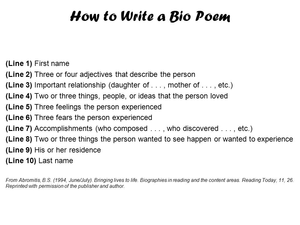 how to write a poem with your name