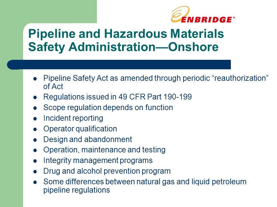 Natural Gas Pipeline Safety Act  History