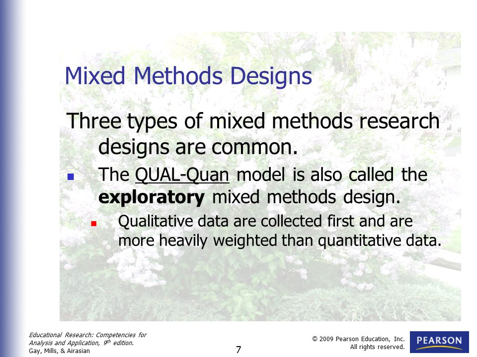mixed method designs 2017-05-22 the use of mixed methods research in the field of behavioural sciences  method (quantitative or  as regards the purpose of conducting mixed designs by integrating different types of.