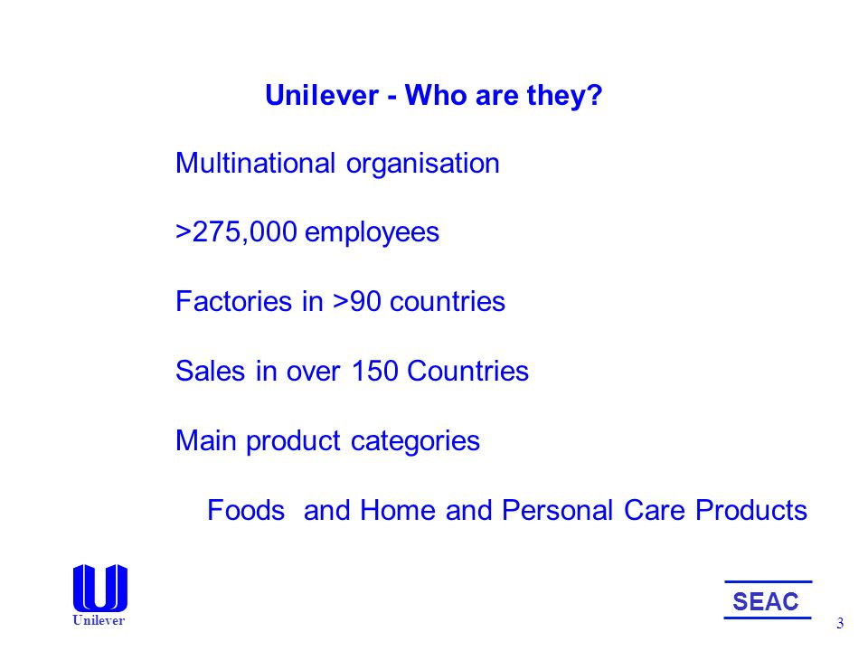 Unilever home and personal care organization