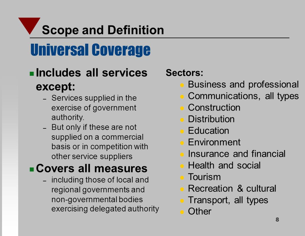 Gats structure and main elements wto trade in services for Insurance construction types