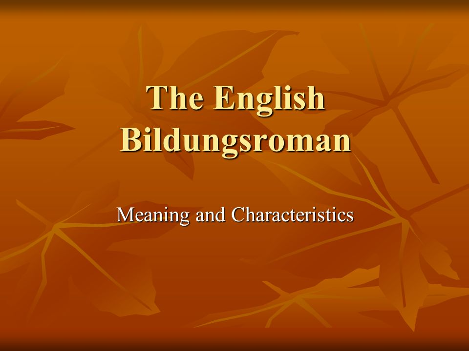 The English Bildungsroman