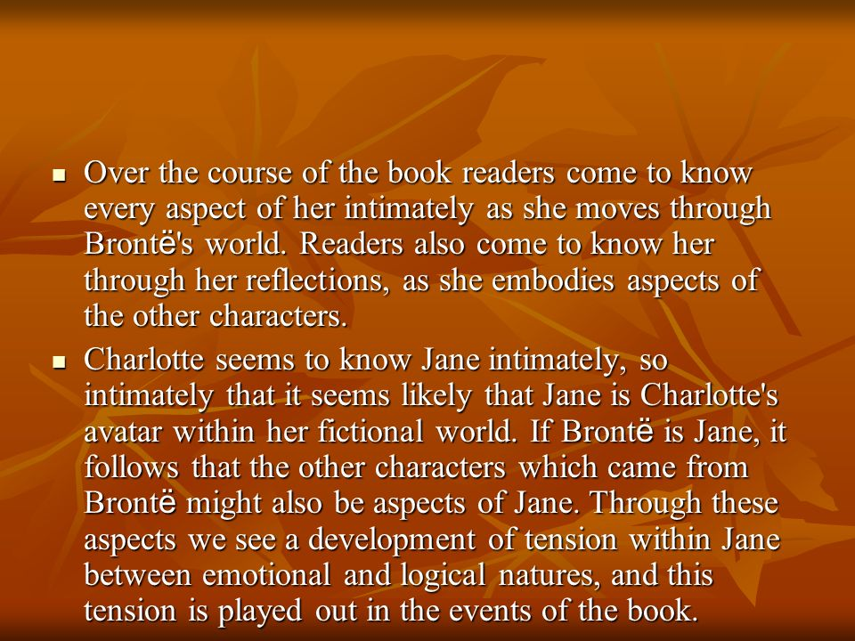 Over the course of the book readers come to know every aspect of her intimately as she moves through Brontë s world. Readers also come to know her through her reflections, as she embodies aspects of the other characters.