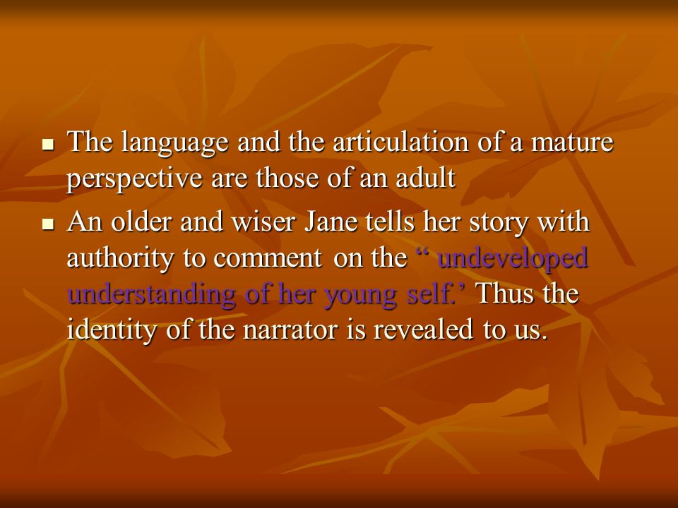 The language and the articulation of a mature perspective are those of an adult