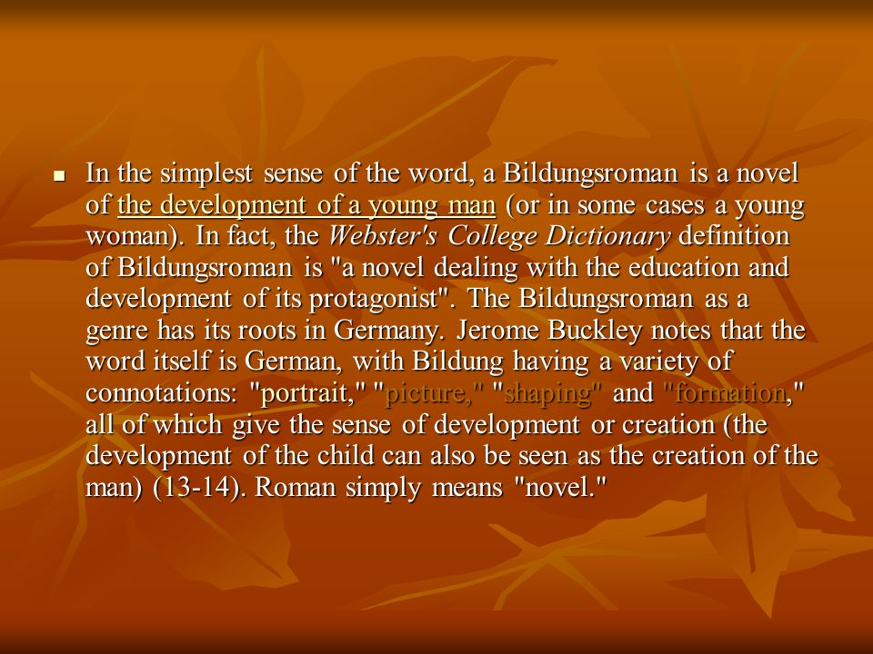 In the simplest sense of the word, a Bildungsroman is a novel of the development of a young man (or in some cases a young woman).