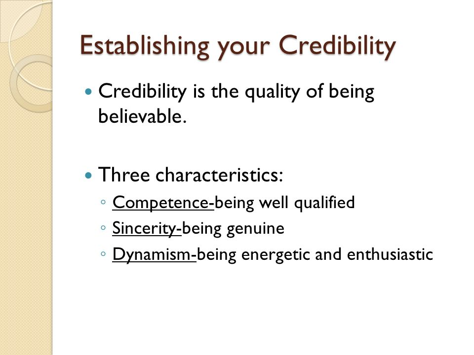 Establishing your Credibility