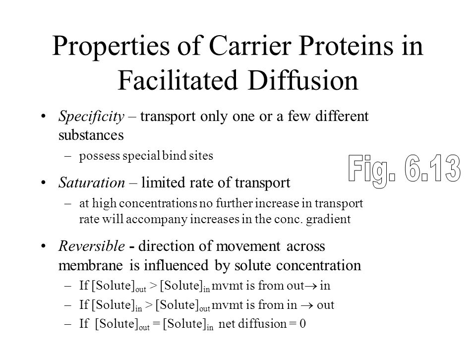 Properties of Carrier Proteins in Facilitated Diffusion
