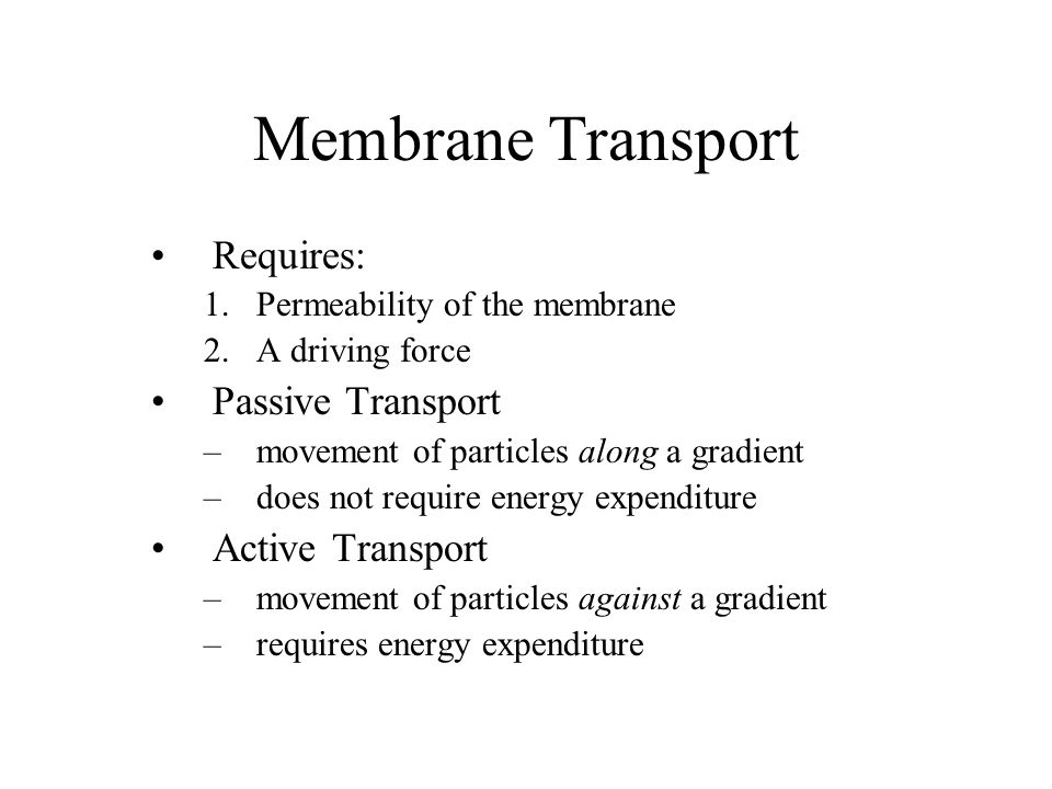 Membrane Transport Requires: Passive Transport Active Transport