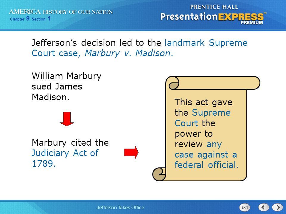 Jefferson's decision led to the landmark Supreme Court case, Marbury v