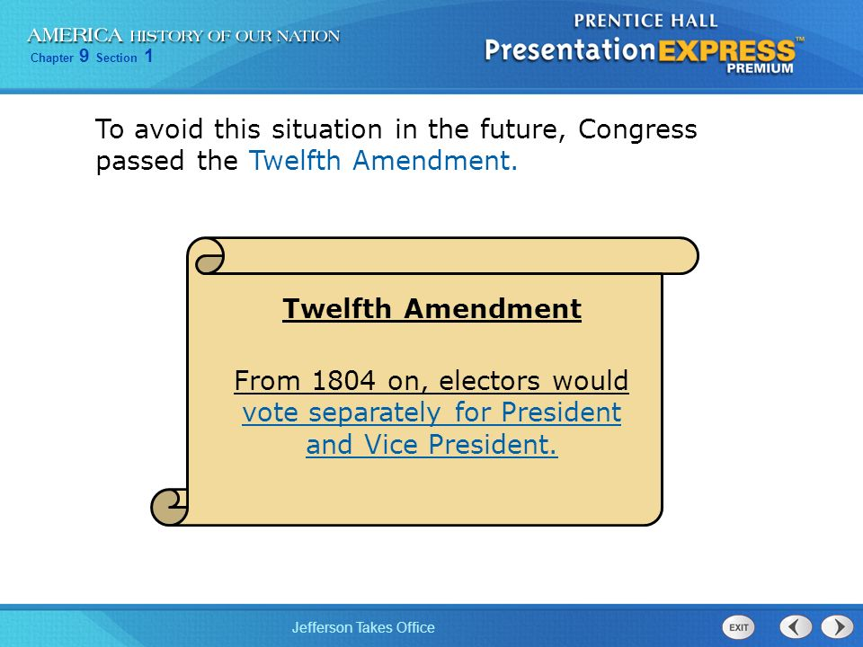 To avoid this situation in the future, Congress passed the Twelfth Amendment.