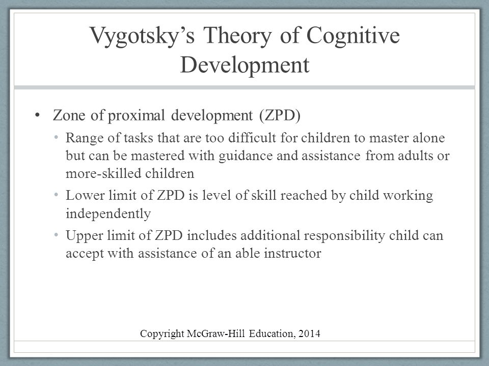 vygotsky's cognitive development theory Vygotsky vs piaget cognitive development can be defined as the formation of thought processes starting from childhood through adolescence to adulthood which includes language, mental.
