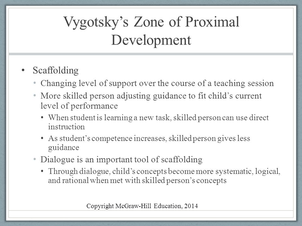 vygotsky zone of proximal development Vygotsky's zone of proximal development theory: • the yellow colour is the zone of achieved development (zad) the zad indicates that the child has.