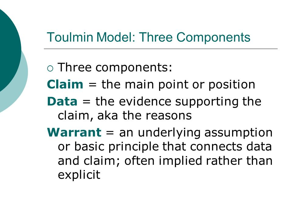 toulmin essay outline Stephen toulmin identified six elements of an argument: the claim, grounds, warrant, backing, qualifier and rebuttal.