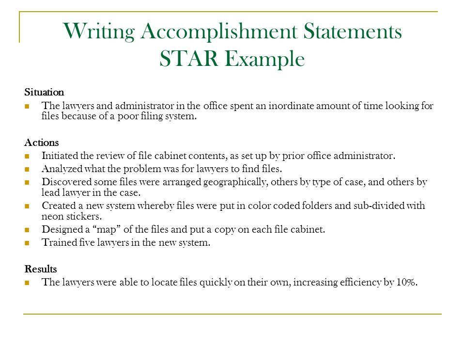 Writing Accomplishment Statements STAR Example  Accomplishment Statements For Resume