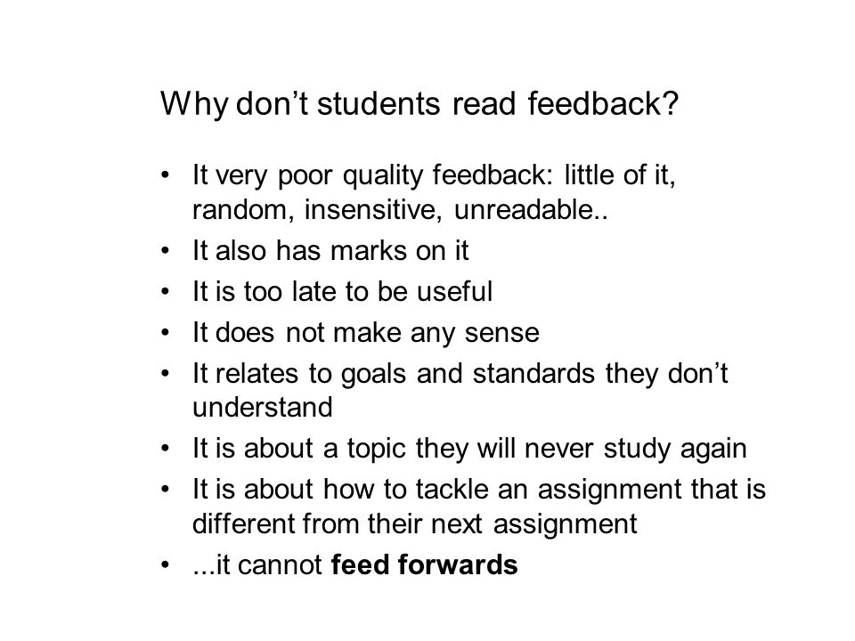 Why don't students read feedback