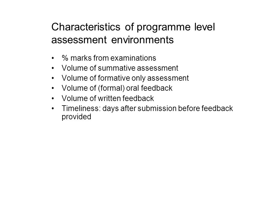 Characteristics of programme level assessment environments