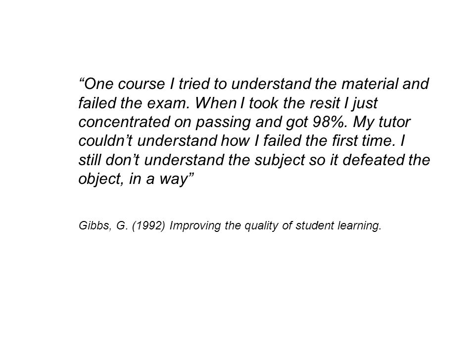 Gibbs, G. (1992) Improving the quality of student learning.