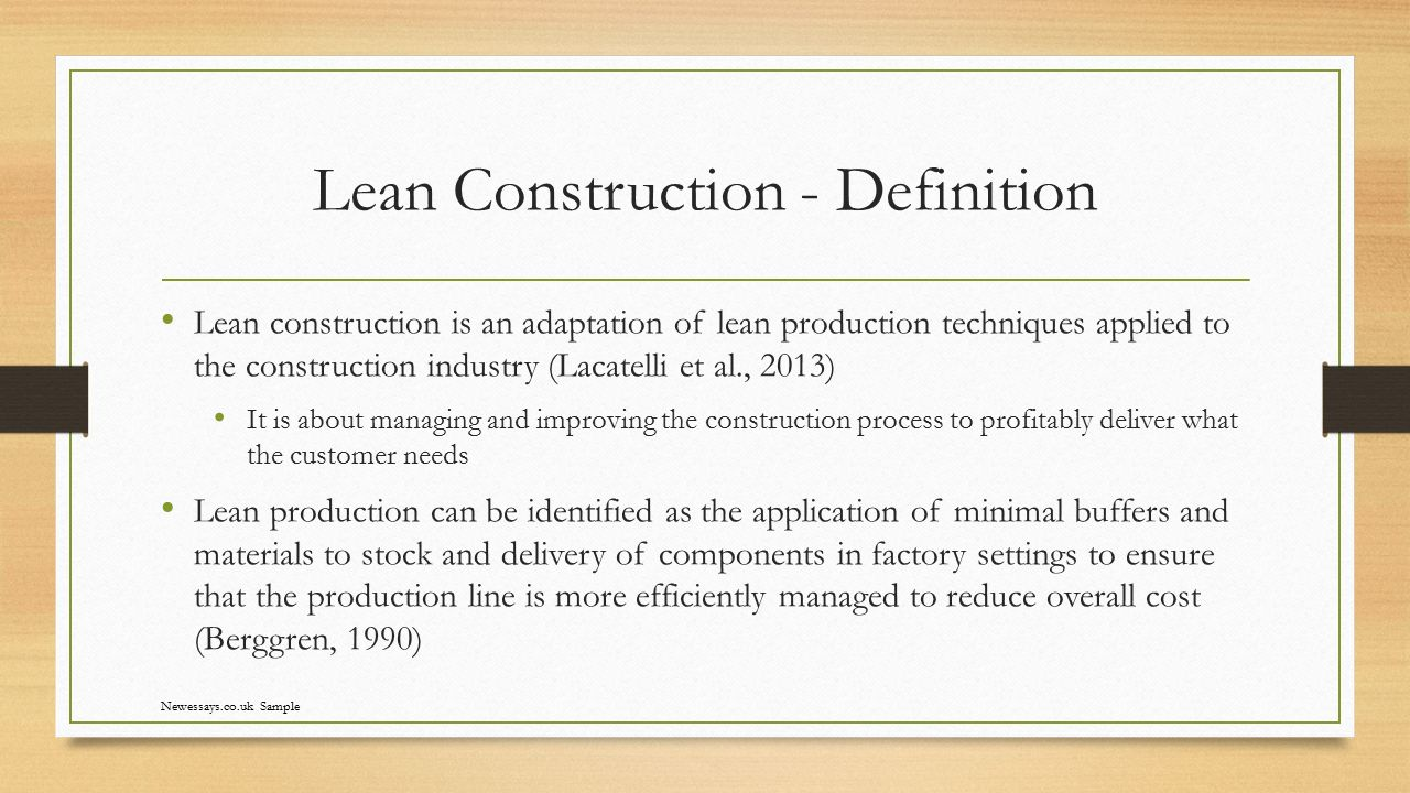 What are the benefits of adopting lean construction ppt for Definition construction