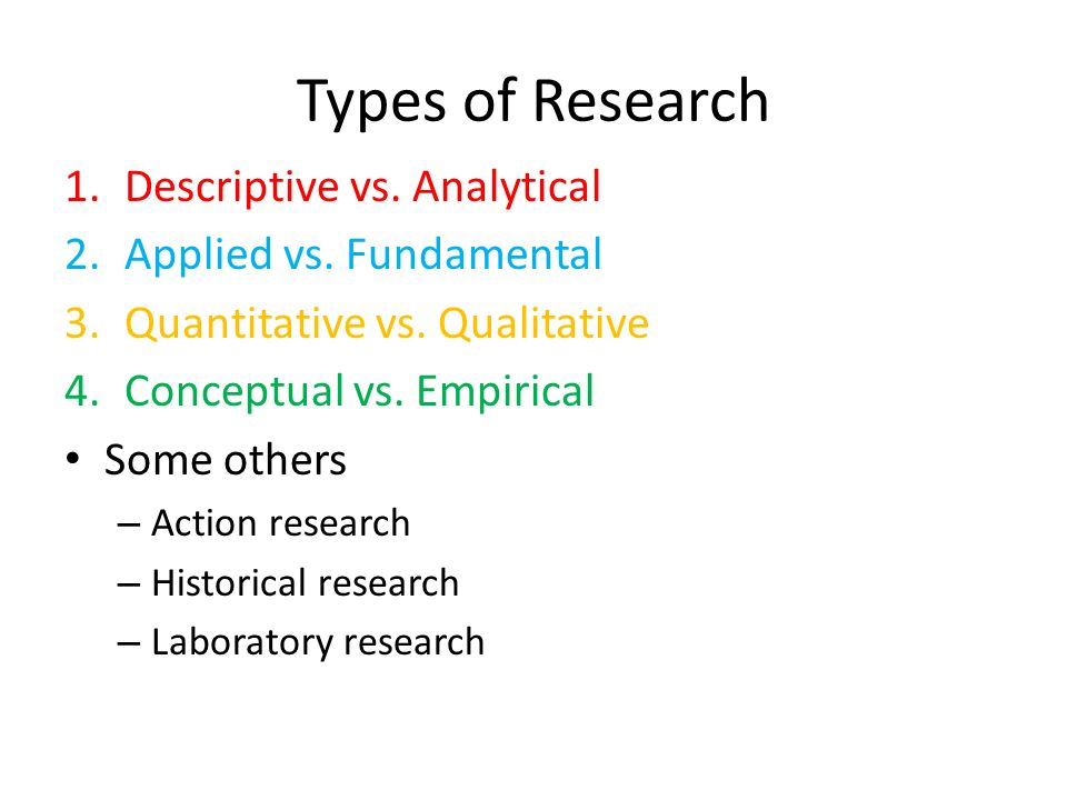 Types of Research Descriptive vs. Analytical Applied vs. Fundamental