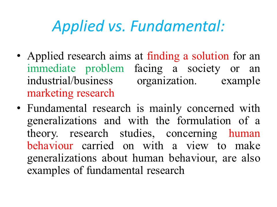 Applied vs. Fundamental:
