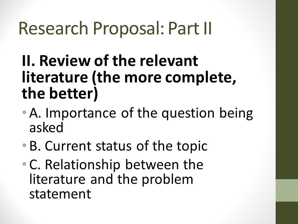 importance of literature review in research proposal development A sample research proposal with comments a research project or thesis will preliminary literature review and develop facts and importance of the research.