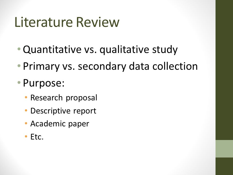what is the primary purpose of the review of literature in a research report However, you will often hear people refer to the introduction to a primary   literature review and an introduction to a research report are minor but important.