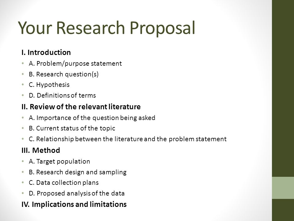 purpose of a research proposal Guidelines on writing a research proposal by matthew mcgranaghan this is a work in progress, intended to organize my thoughts on the process of formulating a proposal.