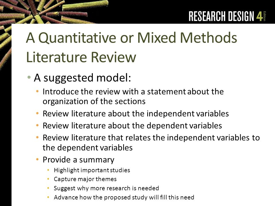 mixed methods research literature review Demystifying mixed methods research design: a review of the literature gail d caruth  to utilize it in future research a review of the literature revealed.