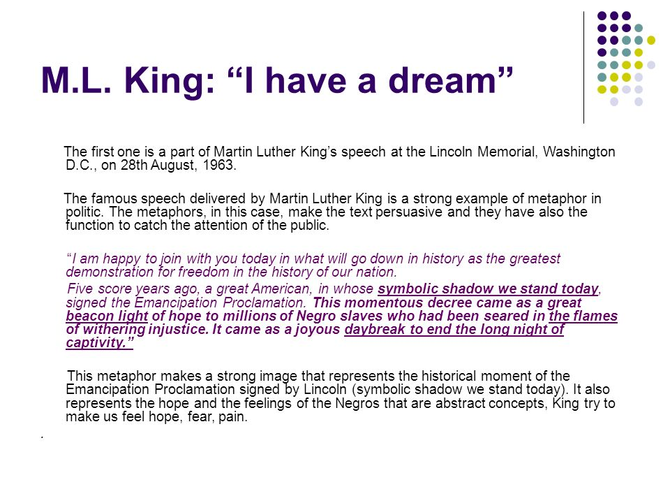rhetorical triangle in i have a dream by martin luther king Martin luther king, jr's i have a dream speech learn about the political and social context behind martin luther king, jr's famous i have a dream speech, the rhetorical devices that helped .