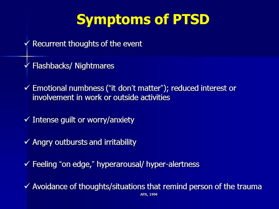 an overview of the symptoms of post traumatic stress disorder and its development