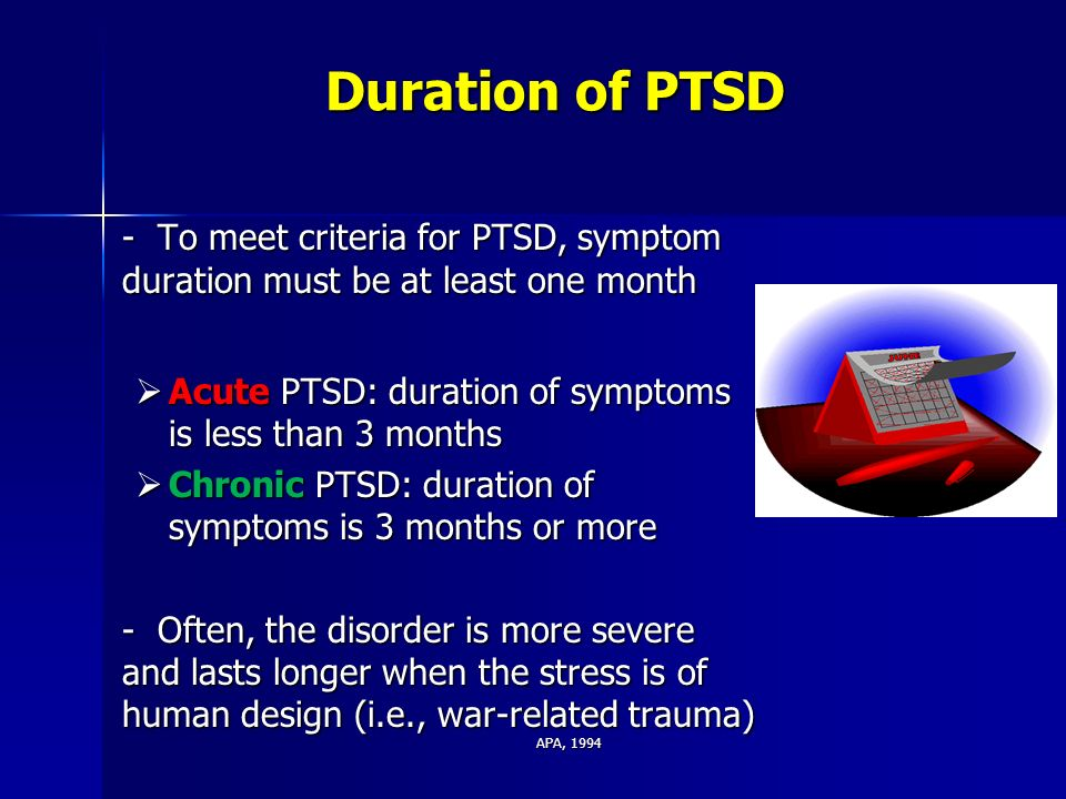 an overview of post traumatic stress disorder Below is a timeline of the history of ptsd  'posttraumatic stress disorder' is added to dsm-iii  post traumatic stress disorder.