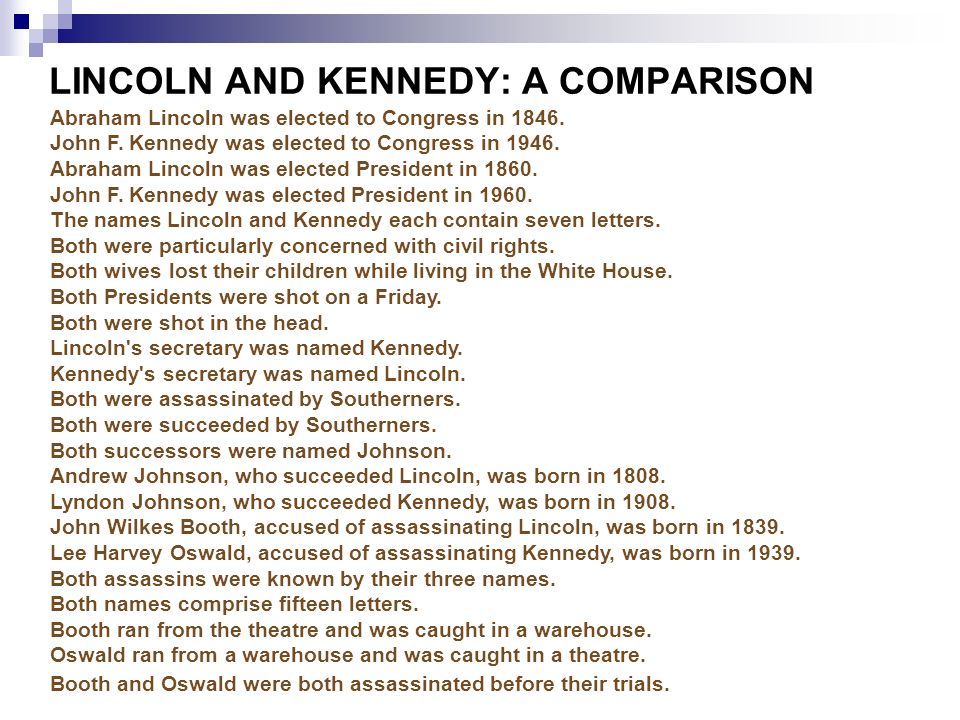 compare contrast lincoln and jfk Free essay: comparing abraham lincoln and john f kennedy the two most  discussed assassinations out of the four within the position of the united states.