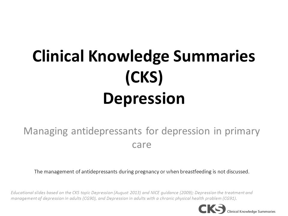 clinical knowledge summaries cks depression ppt  clinical knowledge summaries cks depression