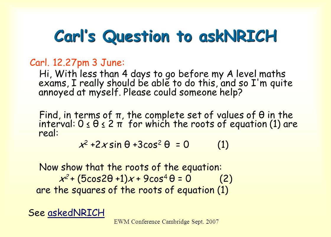 Carl's Question to askNRICH